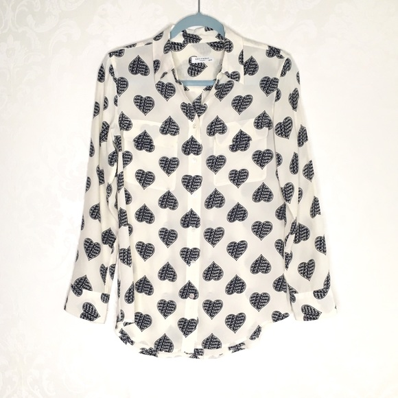 b22d74c86bd588 Equipment Tops - Equipment Je T'aime Heart Button Up Blouse